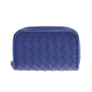 Bottega Veneta Round Fastener Coin Case Intrechart Blue Men's Women's Leather Purse AB Rank BOTTEGA VENETA Used Ginzo