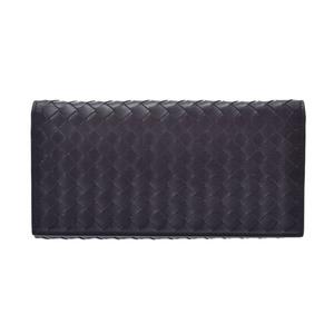 Bottega Veneta Folded Wallet Intrechart Black Men's Women's Leather AB Rank BOTTEGA VENETA Used Ginzo