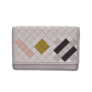Bottega Veneta Card Case Intrechart Light Gray Ladies Men's Lambskin Unused Beauty BOTTEGA VENETA Box Used Ginzo
