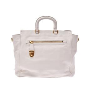 Prada 2WAY handbag white ladies' men's calf tote bag AB rank PRADA with strap used silver warehouse