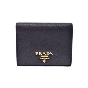 Prada Compact Two Fold Wallet Black / Red 1MV204 Ladies' Men's Calf A Rank Good Condition PRADA Box Gala Used Ginzo