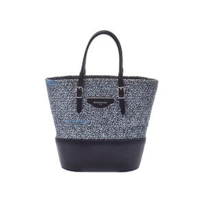 Balenciaga Zigzacker Mini Cover Blue / Black Ladies Cotton Leather 2WAY Handbag New Beauty BALENCIAGA Strap with Used Ginzo