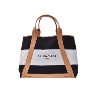 Balenciaga Navy Cabas M White / Black Beige Ladies Men's Canvas Leather Tote Bag A Rank BALENCIAGA Pouch Used Ginzo