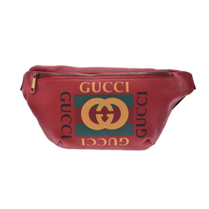 グッチ(Gucci) グッチ グッチプリント ベルトバッグ 赤 メンズ レディース カーフ/キャンバス ボディバッグ Aランク 美品 GUCCI 中古 銀蔵