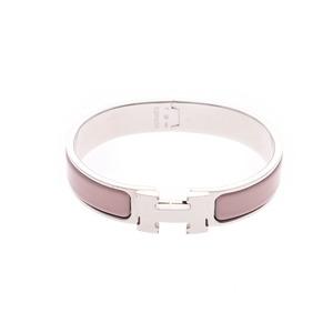 Hermes Click Ash Pink Beige / Silver Ladies Bracelet AB Rank HERMES Box Used Ginzo