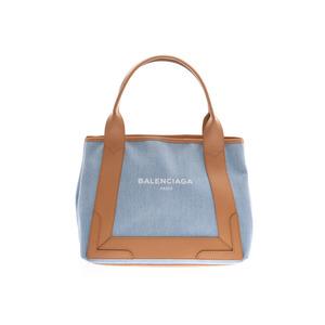 Balenciaga Navy Hippo S Light Blue / Beige Ladies Denim Leather Tote Bag New Beauty BALENCIAGA Pouch Used Ginzo