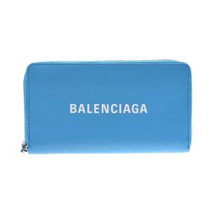 バレンシアガ(Balenciaga) バレンシアガ エブリデイ ラウンドファスナー長財布 水色 レディース メンズ カーフ Aランク BALENCIAGA 中古 銀蔵