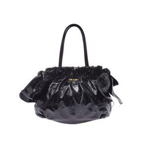 Prada Handbag Black GP Hardware Ladies Vinyl AB Rank PRADA Used Ginzo