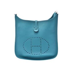 Hermes Evelyn 3 PM Blue Izmir SV metal fittings □ R stamp Ladies Men's Torillon Clemence shoulder bag A rank HERMES used Ginzo