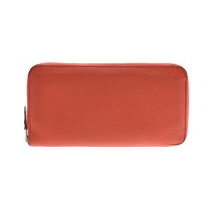 Hermes Azap Long Silk In Orange Poppy X Stamp Ladies Men Togo Wallet B Rank HERMES Used Ginzo