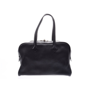 Hermes Victoria 35 black SV metal fittings □ P stamped ladies men's toryon clemence handbag A rank HERMES used silver warehouse