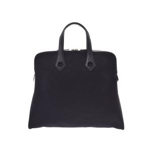 Hermes Ibu MM black □ I stamped ladies men's canvas / leather handbag A rank beautiful goods HERMES