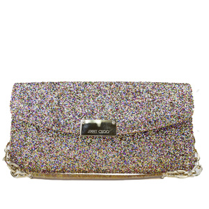 Jimmy Choo Chain Women's Spangles,Leather Clutch Bag,Handbag Gold