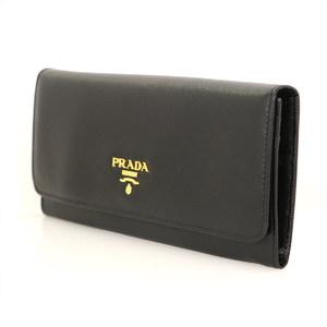 Prada PRADA Saffiano metal black Nero leather long wallet ladies