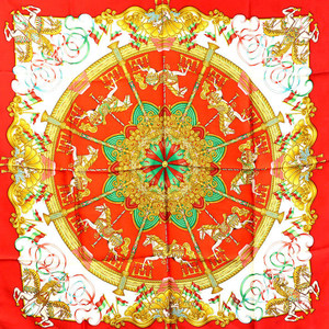 Hermes HERMES Carre 90 Scarf Luna Park Silk 100% Red Merry-go-round Horse