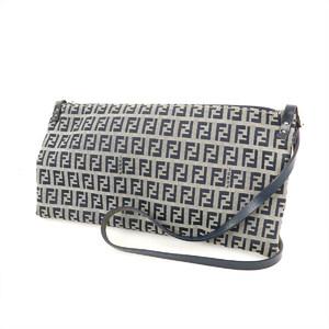 Fendi FENDI Zucca Pattern Navy Canvas Leather Shoulder Pouch Bag Ladies Pochette Popular