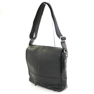 Coach COACH Black Leather Shoulder Bag F70663 Men's diagonally popular outlet
