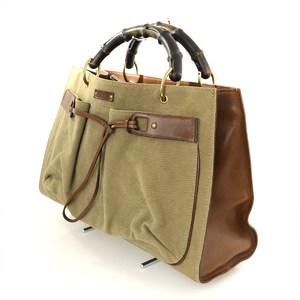 Gucci GUCCI Khaki Beige Brown Black Canvas x Leather Van Boot Tote Bag 109138 002058 Ladies