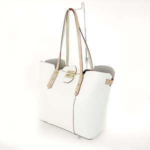 Furla White PVC Leather Beige Tote Bag Ladies A4 Commuter School
