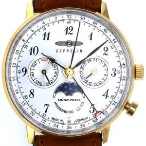Zeppelin Hindenburg 7039-1 quartz white moon phase 3-needle men's watch