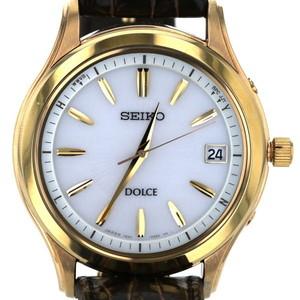 Seiko SEIKO Dolce Leather Belt 7B24-0AV0 Solar White Dial 3-needle Men's Watch