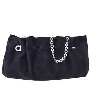 Salvatore Ferragamo Gancini Chain Suede Shoulder Bag Black
