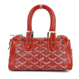 Goyard 2WAY Mini Boston Bag Shoulder Red Leather