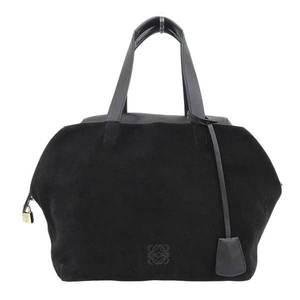 Loewe origami calf leather suede tote bag black