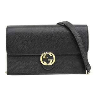 GUCCI Leather Interlocking G Chain Wallet Black 510314