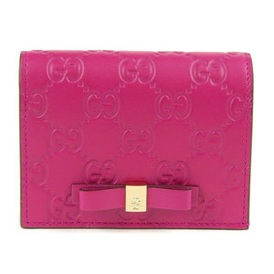 GUCCI Gucci Shima Leather Card Case Business Holder Mini Wallet Pink 406924