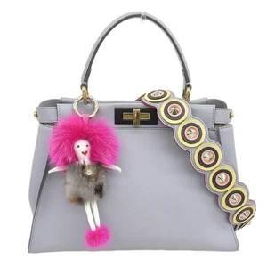 FENDI Fendi Peekaboo Bag Regular Gray with Studded Strap 8BN290 Leather
