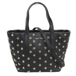 JIMMY CHOO Star stud leather 2WAY handbag shoulder black