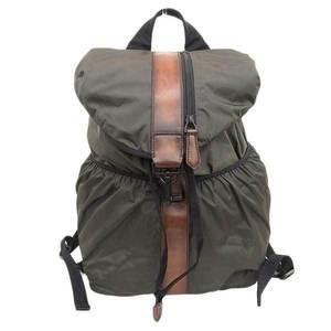 Berluti cross check leather nylon rucksack bag pack khaki