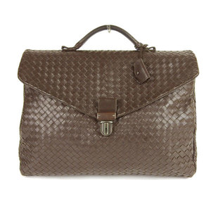 Bottega Veneta Intrecciato Leather Business Bag Brown