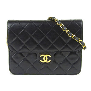 CHANEL Chanel lambskin push lock minimalist shoulder bag black leather