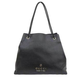 GUCCI Gucci Leather Shoulder Tote Bag Black 380118