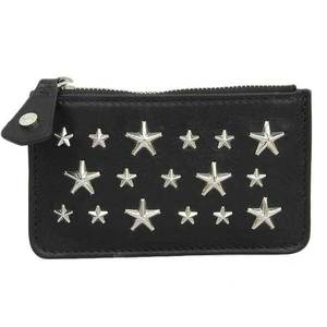JIMMY CHOO vintage calf star studs coin case black leather