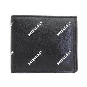BALENCIAGA Balenciaga Logo Print Leather Folded Wallet Black