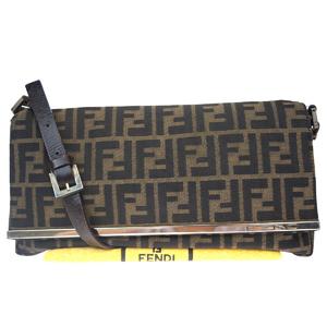 Fendi Zucca Canvas,Leather Shoulder Bag Brown