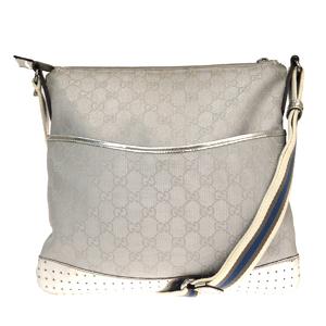 Gucci GG Pattern Nylon,Patent Leather Shoulder Bag Silver