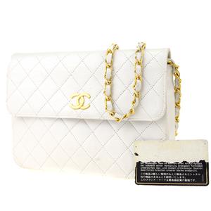 シャネル(Chanel) マトラッセ CC チェーン レザー ショルダーバッグ ホワイト