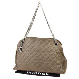 Chanel Chain CC Logo Leather,Quilting Shoulder Bag Khaki