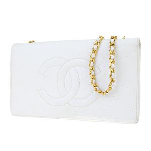 シャネル(Chanel) キャビア・スキン CC チェーン キャビアスキン ショルダーバッグ ホワイト