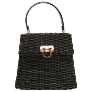 Salvatore Ferragamo Gantini Straw Black Gold Hardware DV-21 3403 Handbag 0040 Salvatore