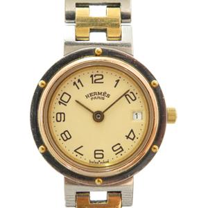 Hermes clipper quartz watch gold 0017HERMES ladies