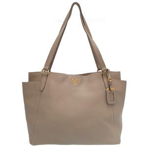 Prada BR4970 Gray Leather Shoulder Tote Bag 0162PRADA