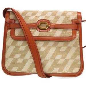 Hermes vintage H logo pattern leather canvas shoulder bag brown ivory beige 0094HERMES