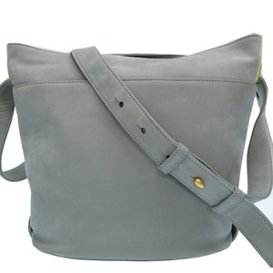 Celine vintage nubuck leather gray shoulder bag gold metal fittings 0008CELINE