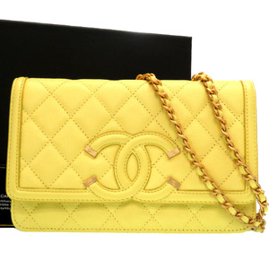 Chanel CC Filigree Chain Wallet Caviar Skin Shoulder Bag Antique Gold 25 Series Yellow 0150CHANEL