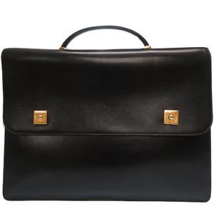 Hermes Danube Box Cuff Black Gold Hardware ○ V Stamp Business Bag Briefcase 0138HERMES